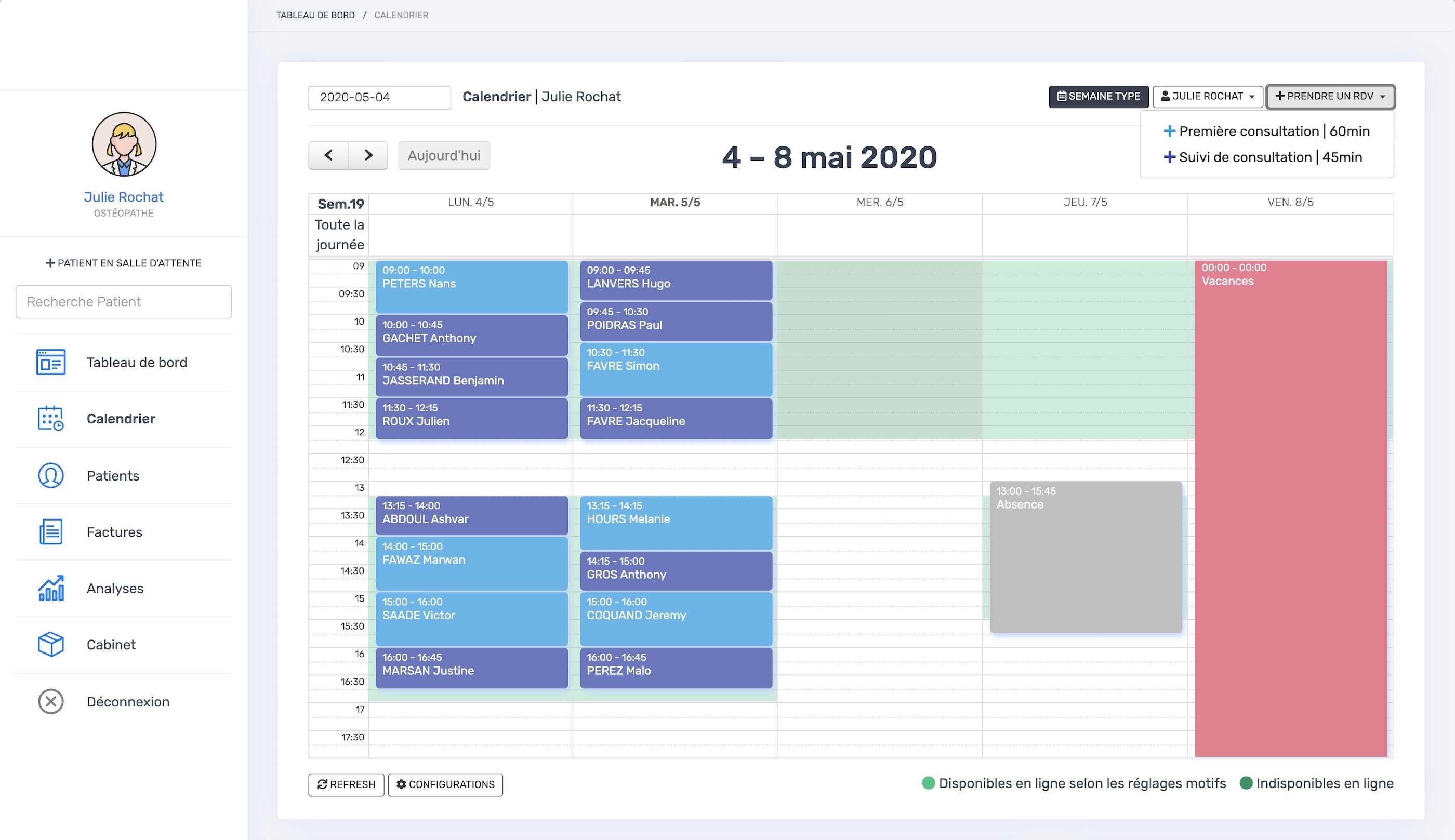 Le calendrier | PERF'OSTEO