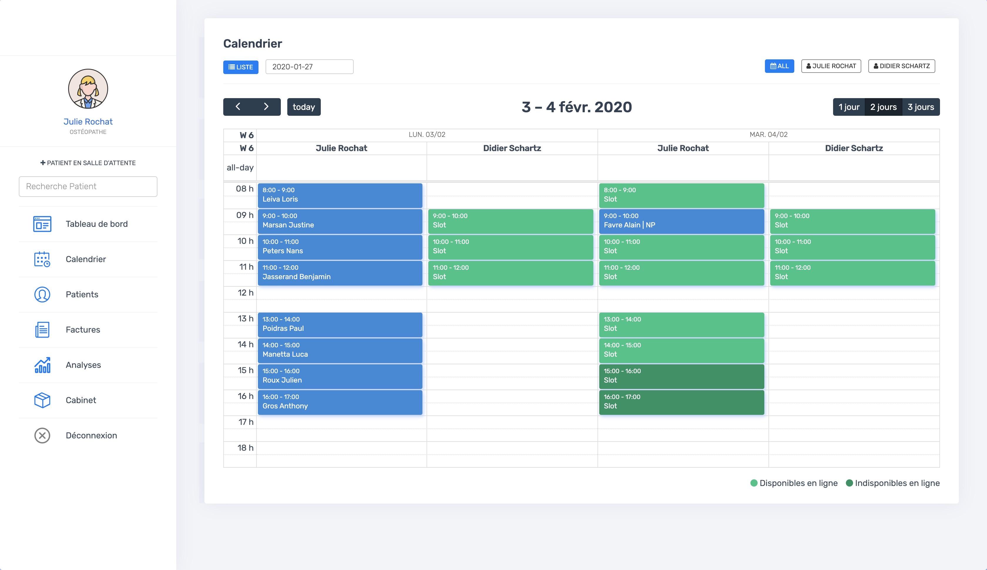 La vue du calendrier multi-thérapeutes | PERF'OSTEO