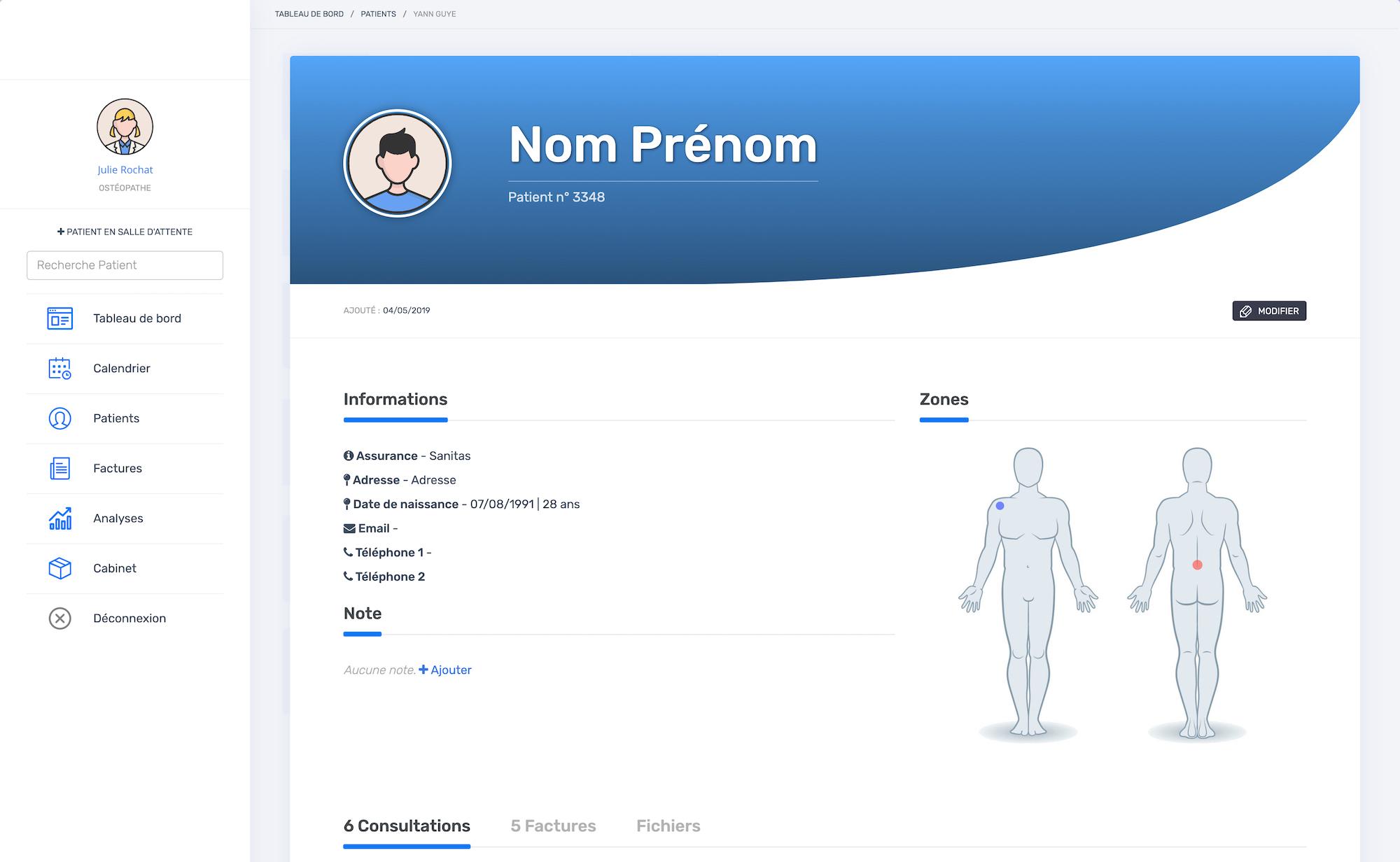 La fiche patient | PERF'OSTEO