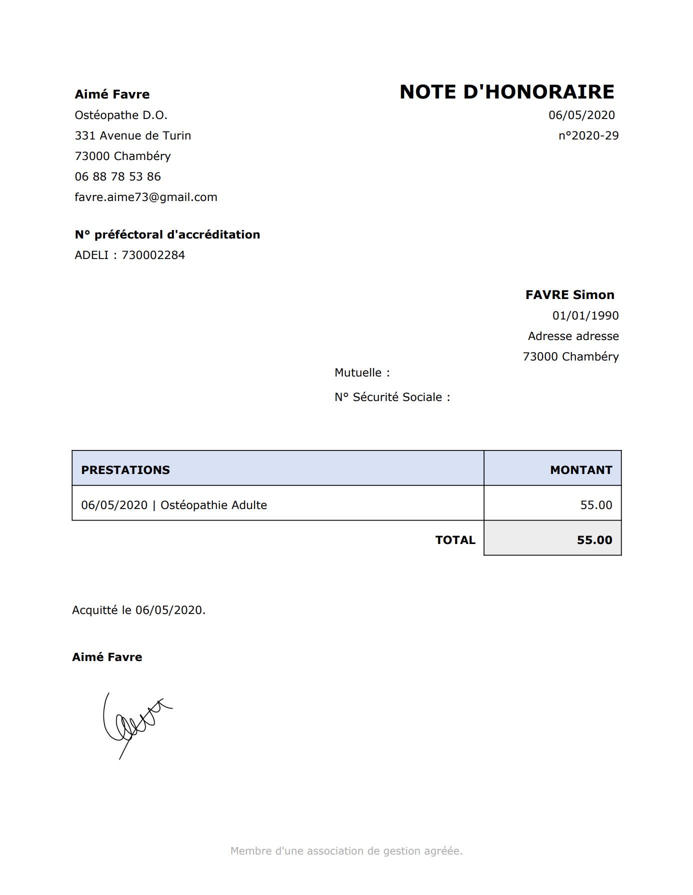 Génération de Document / Lettre | PERF'OSTEO